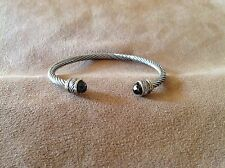 Cuff Bangle Bracelet Brown Crystal End Caps Silver Gold
