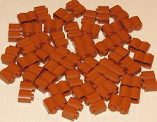 LEGO LOT OF 50 NEW DARK ORANGE 1 X 2 PALISADE BRICKS WESTERN FORT LOG PIECES