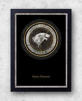 Game of Thrones print- House Stark, Winter is Coming, grey direwolf, John Snow,