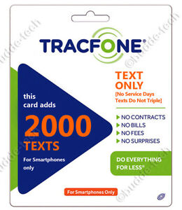 Tracfone 2000 Texts Text Messages Only for Smartphones +Quick Digital Refill USA