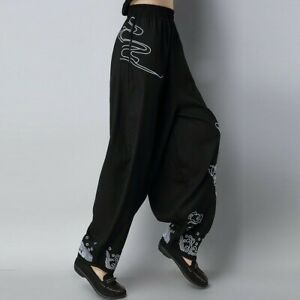 New Womens Chinese Linen Cotton Embroidery Harem Pants Loose Long Baggy Trousers