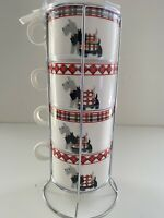 NIP Grace's Teaware Scottie Dogs Set 4 Stackable Coffee Tea Cups W Metal Stand