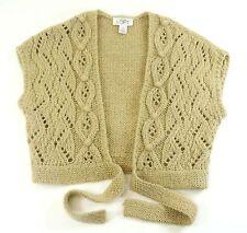 ANN TAYLOR LOFT Small Cable Knit Shrug Sweater Vest Mohair Alpaca Tan Beige $59