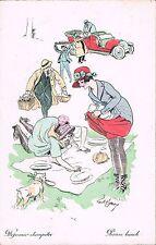 Xavier Sager~Picnic Lunch~Dejeuner champetre~Men Carry Food~Women Set Up Picnic
