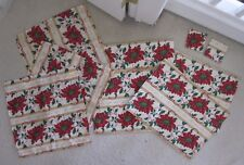 Pre-Owned Lot of 9 Fabric Dinner Table Covers Red Flowers Coasters X-Mas Set
