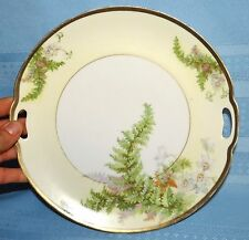"Vtg Antique Prussia Hand Painted Ferns Gold Trim Handled 9.25"" Plate"
