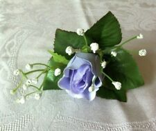 Excellent Single Pale Purple Rose Silk Boutonniere w/ Baby's Breath
