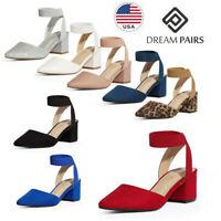 DREAM PAIRS Women's Ealstic Ankle Strap Pump Shoes Low Heel Pointed Toe Pumps