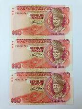(JC) 3 pcs RM10 5th series Signed Aziz Taha First Prefix PA 8049782 - 784 - UNC