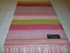 100% Cashmere Scarf 72X12 Scarf Pink Green Blue Scotland Wool Check Plaid K30