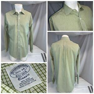 Brooks Brothers Classic Shirt 15.5 34 Green Check Plaid Cotton Mint YGI F0-277