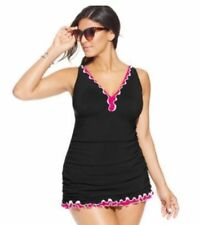 NWT $168 Profile by Gottex Black Ruffled One-Piece Swimdress Plus Size Women's