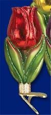 RED TULIP OLD WORLD CHRISTMAS GLASS CLIP-ON SPRING FLOWER ORNAMENT NWT 36166