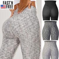 Women Anti-Cellulite Yoga Pants Pockets Butt Lift High Waisted Leggings Exercise
