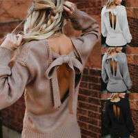 Women Casual Backless Knitted Long Sleeve Cable Knit Jumper Chunky Sweater Tops