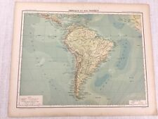 1898 French Map of South America Physical 19th Century Antique Original