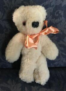 TEDDY BEAR Sheep skin Fleece Articulated Wool Stuffed Toy Lambskin Ausfleece