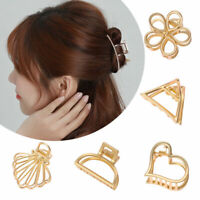 Women Geometric Hair Claw Hair Holder Claw Hollow Hair Clips Hair Crab Clip Gold