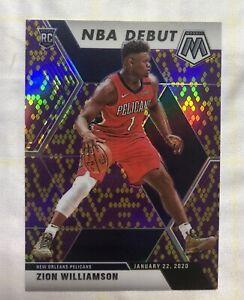 2019-20 Mosaic Zion Williamson Rookie RC NBA Debut Snakeskin Kobe Bryant 17/20