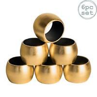 Gold Napkin Rings Round Serviette Holder Wedding Christmas Dinner Decor x6