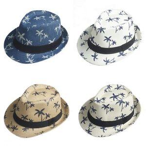 Kids Boys Fedora Trilby Hat Straw Coconut Tree Summer Beach Gangster Cap Child