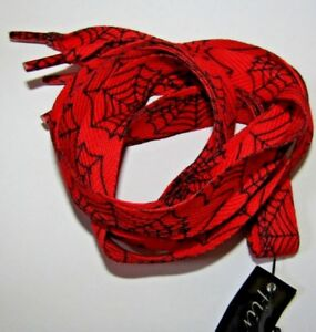 """Black or Red Flat Shoe Laces With Cobweb Halloween 8mm or 18mm Wide 45"""" 115cm H2"""