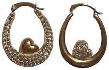 9ct Gold Crystal set reverse heart oval earrings