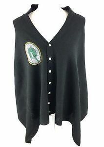Green Bay Packers Black Out Button Poncho Sweater One Size NWT Beaded Logo NFL
