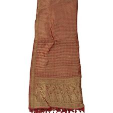 Sanskriti Vintage Dupatta Long Stole Pure Silk Red Woven Scarves Shawl Veil