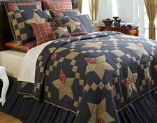 ARLINGTON Full Queen QUILT : RUSTIC CABIN RED PATCH  COUNTRY BLUE NAVY STAR