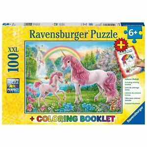 Ravensburger Magical Unicorns Puzzle and Coloring Book 100pc 6+