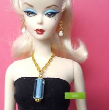 S896 Doll Jewelry For Silkstone Barbie Fashion Royalty Striped Cane Glass blue