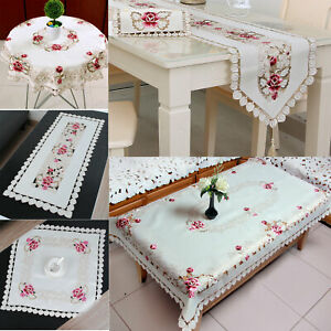 Vintage Embroidered Lace Tablecloth Dining Table Runner Cover Mats Wedding Decor