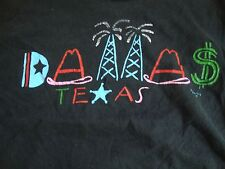 Vintage DALLAS Artist Designer Vacation Tourist Black T Shirt Adult Size M
