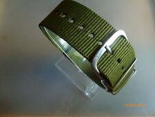 Relojes pulsera nylon Olive-verde 24 mm OTAN banda hebilla textil