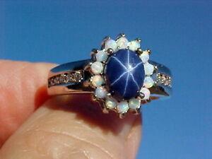🔥 Natural Blue Star Sapphire Ring 8x6mm & Australian Opal & White Topaz 925 Sz8
