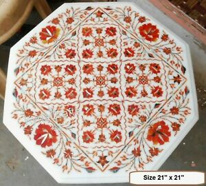 Octagon Marble Coffee Table Top Red Stone Inlaid Work Patio Table 24 Inches