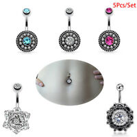 5Pcs/Set Crystal Navel Rings Belly Button Bar Ring Dangle Body Piercing Jewelry