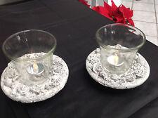 1 Windlicht  Kerzenständer Rose  mit Glas + Kerzen Stein  Neu