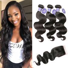 Brazilian Body Wave Human Hair 3 Bundles and 4x4 Lace closure Virgin Hair Weave