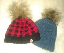 Boutique etsy Caps Buffalo Plaid fur Please ball beanie Hat hand-knit Boys baby