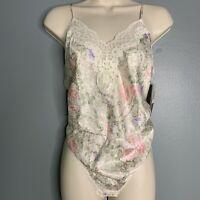 Vintage Lucie Ann Bodysuit Floral Satin Deadstock Size Medium Lace Snap Bottom