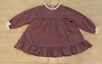 Vintage Alexis Baby Girl Dress Red Plaid School Girl 4T Cotton Polyester Blend