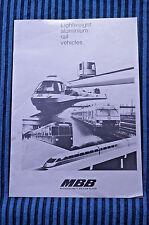 Lightweight Aluminium Rail Vehicles - Messerschmitt - Bolkow - Blohm, Brochure
