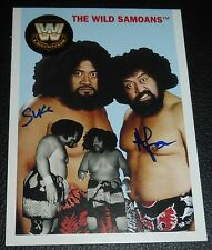 Afa & Sika The Wild Samoans Signed 2006 Topps Heritage WWE Card #76 Autograph