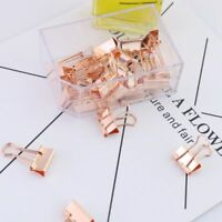 Metal Binder Clips 15/25pcs Rose Gold Notes Paper Letter Clip For Office Supply
