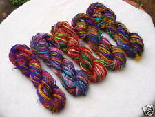 1 Skein - 90 Yards - Recycled Sari Silk Yarn - Hand Spun - Multi Color - Grab It