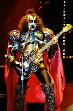 """12""""*18"""" concert photo of Gene Simmons playing with Kiss at Wembley in 1980"""