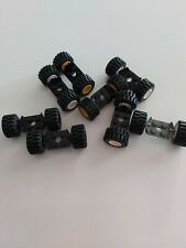 LEGO vintage rubber DOUBLE WHEELS 16 on 8 metal axles set pack for town city