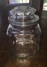 """Antique Clear Glass Mercantile Jar Bottle With Lid 6""""x4"""""""